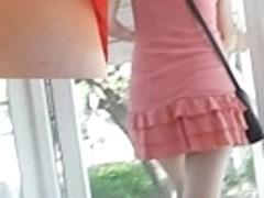 Sassy coral summer suit upskirt movie