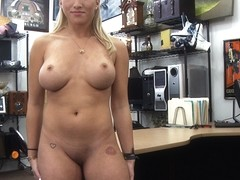 Horny and blonde stripper tries to sell her pole gets fucked