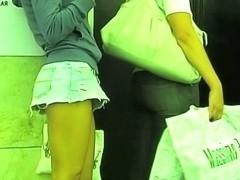 Sexy, plump ass on an upskirt voyeur video