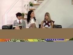 Mature teacher with schoolgirls in trio
