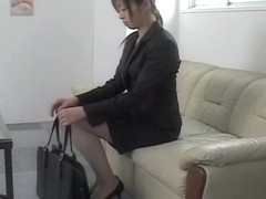 Skinny Jap rides dick in voyeur Japanese sex video