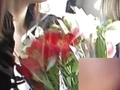 Romantic angel with flowers upskirting