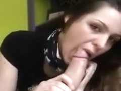 Light brown haired blowing for spunk on her tongue