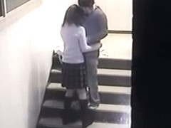 A horny couple caught by a hidden cam while having sex.