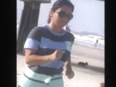 double latina milfs tit jiggle jogging on beach 29