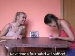 Girlfriends Hot lesbians play cards before sex