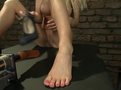 Horny blonde, fetish sex clip with amazing pornstar Riley Evans from Fuckingmachines
