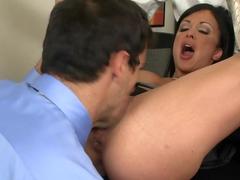 Career Woman Takes Two Cocks