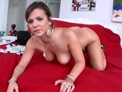 Hot Brunette with Natural Tits Swallows...