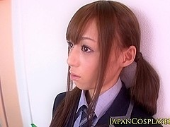 Japanese maid jerking until facial