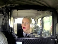 Blonde in stockings banged in fake taxi in public