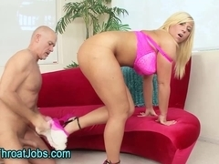 Busty pussy licked slut sucks cock