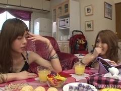 Hot milfs Ren Aizawa, Yume Mizuki in hot lesbian action