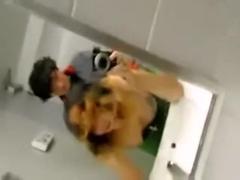 Amateur public sex in club bathroom