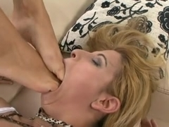 beauty mistress use lesbian feet slave