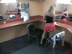 Voyeur dildo in beauty parlor