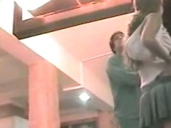 Hot voyeur up skirt video of a sexy  Latina in public