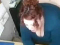 BBW redhead fucked at her desk