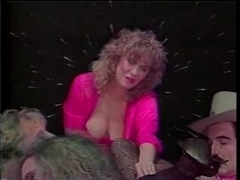 Blonde slut masturbates with toy before lesbian sex