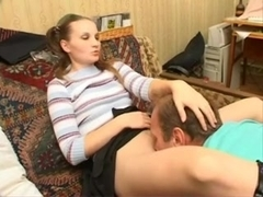 Russian home sex stepfather with not his stepdaughter!