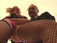 Old man and blonde milf creampie