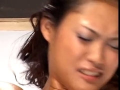 Japanese babe screams and moans as she squirts hard