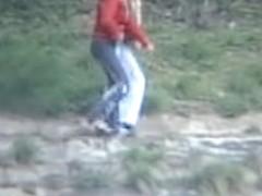 Two shameless girls hidden cam pissing outdoor