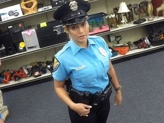 Beautiful and big tits police officer gets fucked in Shawns office