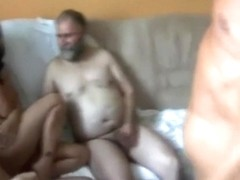 5 old russians sharing 1 whore