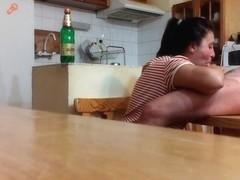 Pecker engulfing on the kitchen table