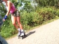 Rollerblader on trail