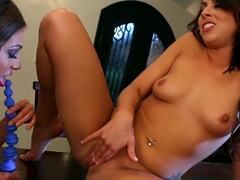 Exotic pornstars Tara Morgan, Abigail Mac, Zoey Monroe in Crazy Cunnilingus, Stockings adult movie