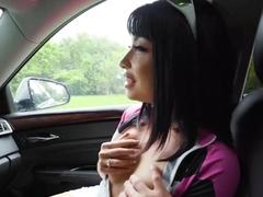 Shaved pussy brunette Rina Ellis fucked by strangers dick