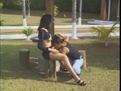 Hungry tranny eats a guy outdoor