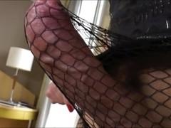Sweet blonde shemale Josiane unleashes her cock and masturbates