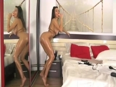 Curvy temptress teases in the bedroom