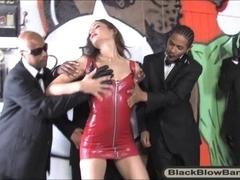 Tiny tits hoe Amber Rayne deepthroats lots of big black cocks