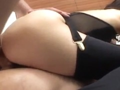Tsubasa Okina naughty Asian milf in black sucks two fat