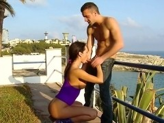 Franceska Jaimes gets banged outside