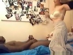 White blonde girl sucks and doggystyle fucks her black bf with lube in the bedroom