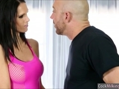 Masseuse Jennifer Dark milking rod under the massage table
