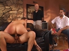 Sexy hottie sucks & widens that guy legs for wang