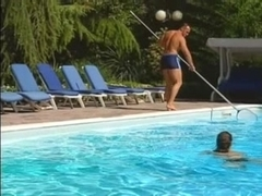 Hawt Wench Screwed by 3 Pool Fellows
