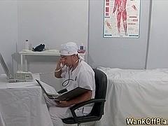Doctor blows amateur cock