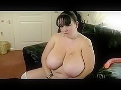 Fat BBW GF with enormous Tits playing with her big wet bawdy cleft