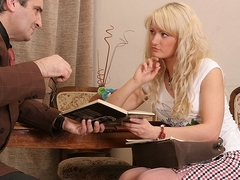 TrickyOldTeacher - Teacher tricks sexy blonde student to suck cock and fuck her pussy