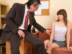 TrickyOldTeacher - Failed exam leads busty student to give blowjob and fuck for better grade