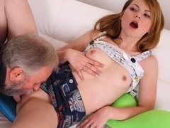 Juicy college pussy is licked and fucked by old man and guy who give her a facial - OldGoesYoung