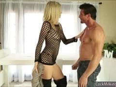 Hot masseuse Amanda Tate massages cock and cum facialed