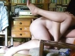 Brunette has oral, missionary and cowgirl sex on the sofa
